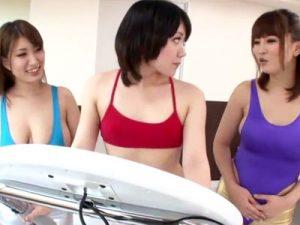 【アナルレズ動画】レオタードからハミ乳した巨乳インストラクターが生徒のアナルに極太ペニバン挿入ww